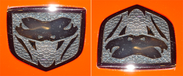 Dodge Viper logo right-side-up and upside-down